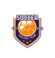 soccer ball icon for college team vector image vector image