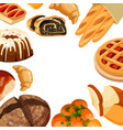 square bakery frame baked bread products vector image