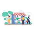 street newsstand with saleswoman people buying vector image vector image