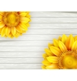 Sunflowers on wooden background EPS 10 vector image vector image