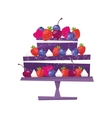 Sweet chocolate cake for birthday holiday vector image vector image