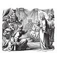 the sanhedrin trial of jesus - he is taken before vector image vector image