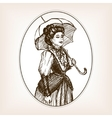 Vintage lady sketch style vector image vector image