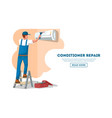 web design of page with man repairing conditioner vector image