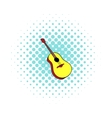 Wooden acoustic guitar icon comics style vector image vector image