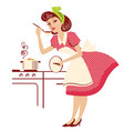 young portrait housewife in retro fashion red vector image vector image
