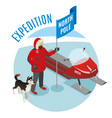 arctic expedition isometric composition vector image vector image