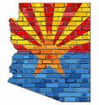 arizona map on a brick wall vector image vector image