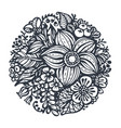 beautiful flowers and plants in the circle vector image vector image