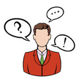 businessman with speech communication bubbles icon vector image vector image