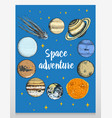 card planets in solar system and astronaut vector image vector image