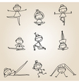 cartoon happy people yoga work-out vector image vector image