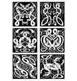 Celtic knot patterns with tribal dragons vector image
