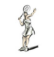 color line sketch woman playing tennis vector image vector image