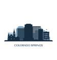 colorado springs skyline monochrome silhouette vector image vector image