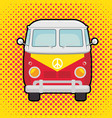 colorful hippie bus cartoon vector image vector image