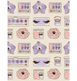 Cosmetics seamless pattern hand drawn Blush eye vector image