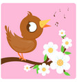 cute bird singing on a blossoming tree branch vector image vector image