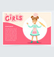 cute smiling girl chef with rolling pin girls vector image
