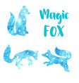 cute watercolor icons with a fox constellation of vector image
