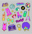disco party retro fashion elements with guitar vector image