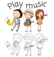 doodle graphic of musician vector image