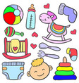 doodle of element toy baby vector image vector image