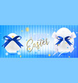 easter white eggs with silk bow in confetti vector image