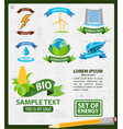 energy logos energy infographics logos with ribbon vector image vector image