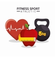 fitness sport athletics heart apple barbell vector image