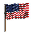 flag united states of america waving in flagpole vector image vector image