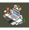 Flat isometric workspace Office laptop vector image vector image