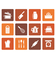 Flat Kitchen and household Utensil Icons vector image