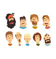 flat set male portraits with surprised vector image vector image