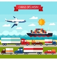 Freight cargo transport background in flat design vector image