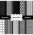Geometric black and white Seamless Patterns Set vector image vector image