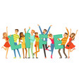 group of smiling people holding the word life vector image vector image
