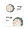 hand drawn coffee cup business card hot drink vector image
