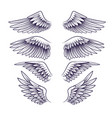 hand drawn wing sketch angel wings with vector image