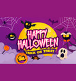 happy halloween party banner with scary characters vector image