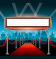 hollywood movie red carpet background and city vector image vector image