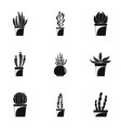 Home cacti pot icon set simple style