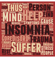Insomnia Through Trauma text background wordcloud vector image vector image