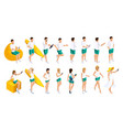 isometrics set of people 3d teenagers vector image