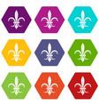 lily heraldic emblem icon set color hexahedron vector image vector image
