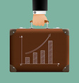 man in a suit holding a brown briefcase vector image vector image