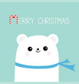 merry christmas candy cane polar white bear cub vector image vector image