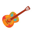 mexican acoustic guitar with ornaments and decor vector image