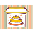 open box with icon of cake on striped pa vector image