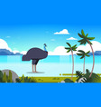 ostrich or emu at sea coast wildlife fauna concept vector image